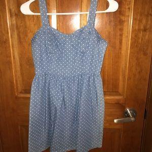 Denim polka dotted dress :)